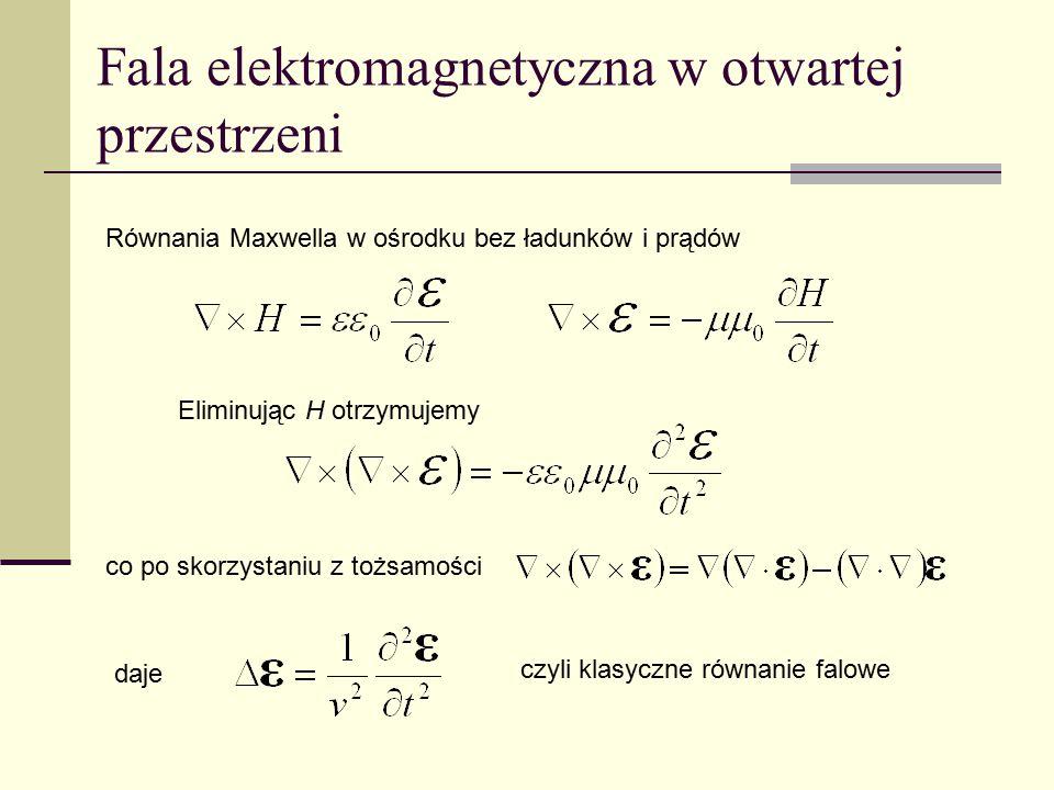 Fala elektromagnetyczna w otwartej przestrzeni Równania Maxwella w ośrodku bez ładunków i prądów czyli klasyczne równanie falowe Eliminując H otrzymuj