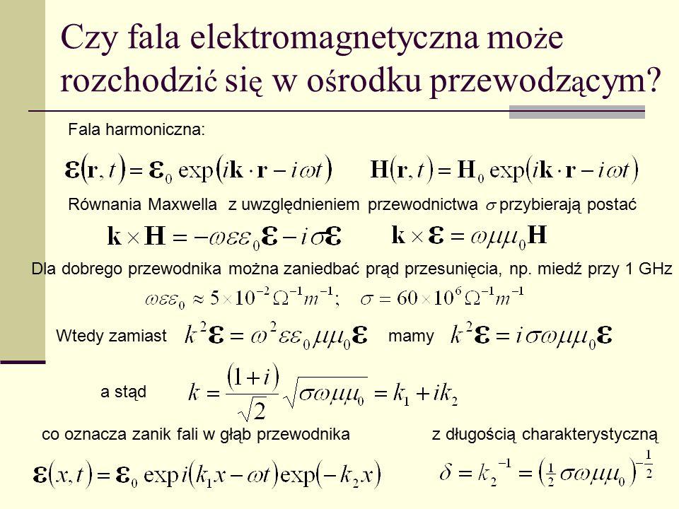 Czy fala elektromagnetyczna mo ż e rozchodzi ć si ę w o ś rodku przewodz ą cym? Równania Maxwella z uwzględnieniem przewodnictwa  przybierają postać