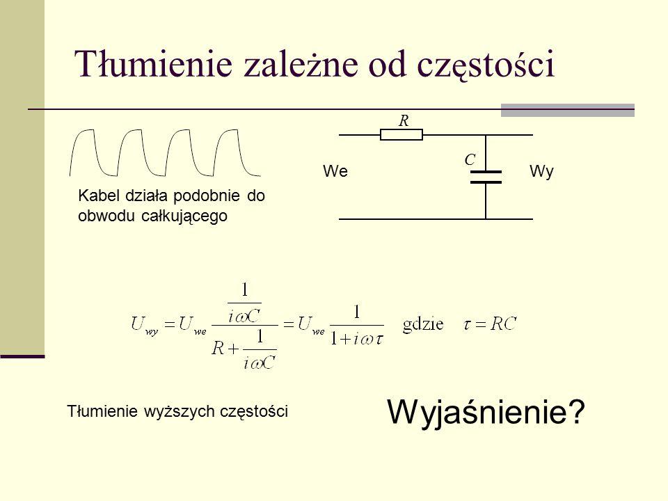 Tłumienie zale ż ne od cz ę sto ś ci Kabel działa podobnie do obwodu całkującego Tłumienie wyższych częstości Wyjaśnienie? We Wy R C