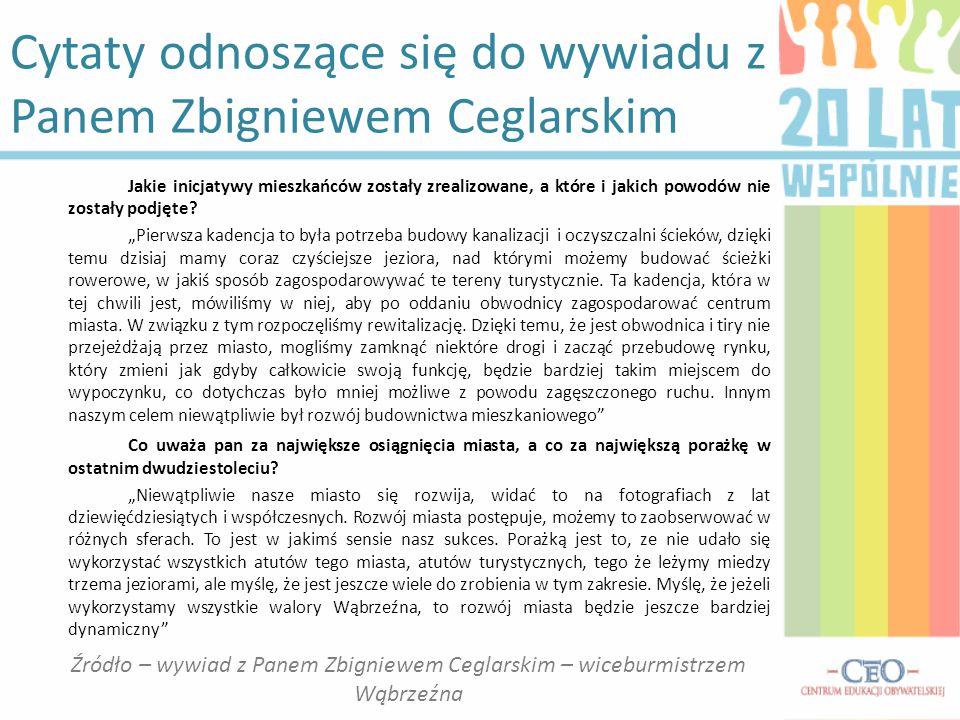 Cytaty odnoszące się do wywiadu z Panem Zbigniewem Ceglarskim Jakie inicjatywy mieszkańców zostały zrealizowane, a które i jakich powodów nie zostały