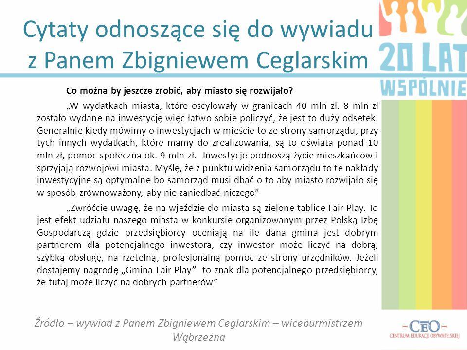 """Cytaty odnoszące się do wywiadu z Panem Zbigniewem Ceglarskim Co można by jeszcze zrobić, aby miasto się rozwijało? """"W wydatkach miasta, które oscylow"""