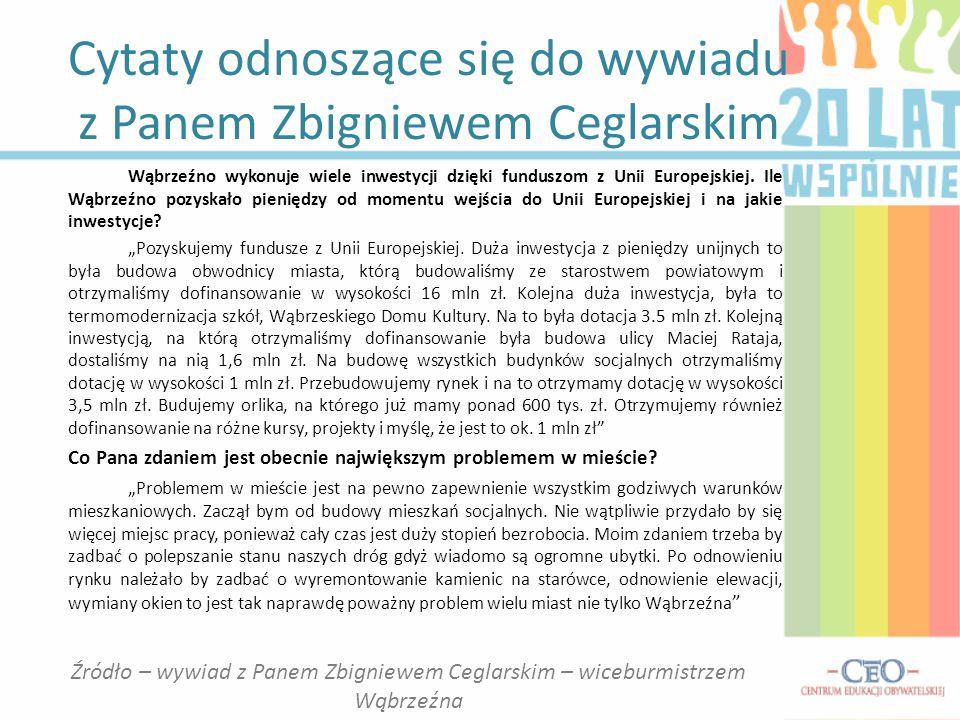 Cytaty odnoszące się do wywiadu z Panem Zbigniewem Ceglarskim Wąbrzeźno wykonuje wiele inwestycji dzięki funduszom z Unii Europejskiej. Ile Wąbrzeźno