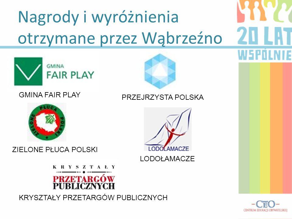 Nagrody i wyróżnienia otrzymane przez Wąbrzeźno GMINA FAIR PLAY PRZEJRZYSTA POLSKA ZIELONE PŁUCA POLSKI LODOŁAMACZE KRYSZTAŁY PRZETARGÓW PUBLICZNYCH