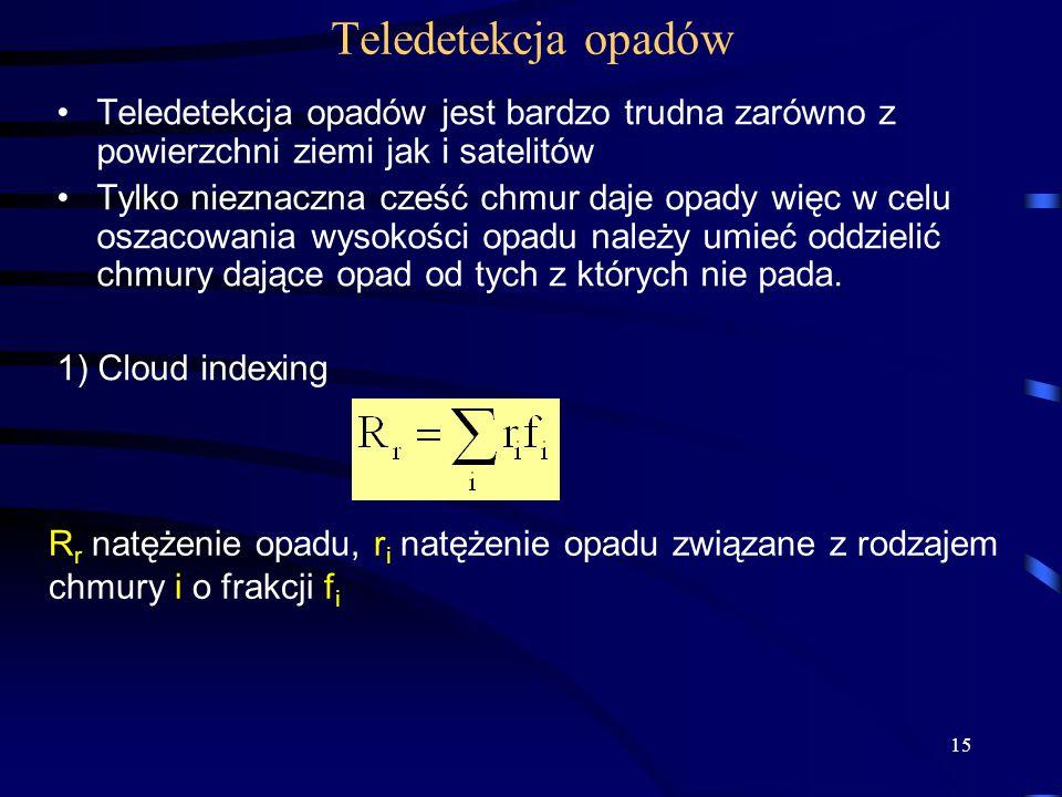 15 Teledetekcja opadów Teledetekcja opadów jest bardzo trudna zarówno z powierzchni ziemi jak i satelitów Tylko nieznaczna cześć chmur daje opady więc w celu oszacowania wysokości opadu należy umieć oddzielić chmury dające opad od tych z których nie pada.