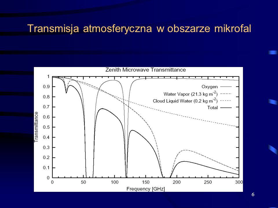 17 5) Metody mikrofalowe Promieniowanie to penetruje chmury gdyż krople chmurowe słabo oddziaływają z mikrofalami.