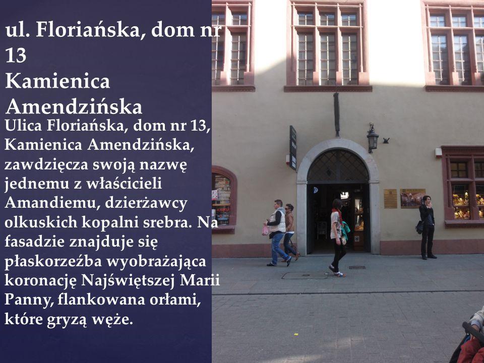 Ulica Floriańska, dom nr 13, Kamienica Amendzińska, zawdzięcza swoją nazwę jednemu z właścicieli Amandiemu, dzierżawcy olkuskich kopalni srebra. Na fa