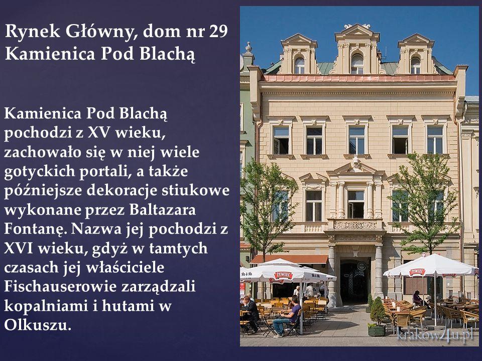 Kamienica Pod Blachą pochodzi z XV wieku, zachowało się w niej wiele gotyckich portali, a także późniejsze dekoracje stiukowe wykonane przez Baltazara Fontanę.