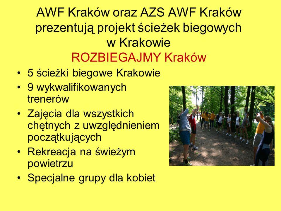 Projekt Ścieżek w Krakowie 2011 rok Cotygodniowo ponad 700 uczestników zajęć Trening w zielonych miejscach Krakowa i na hali AWF na Grzegórzeckiej Atmosfera zabawy Klub amatorów AZS AWF Kraków Masters integrujący środowisko aktywnych ludzi