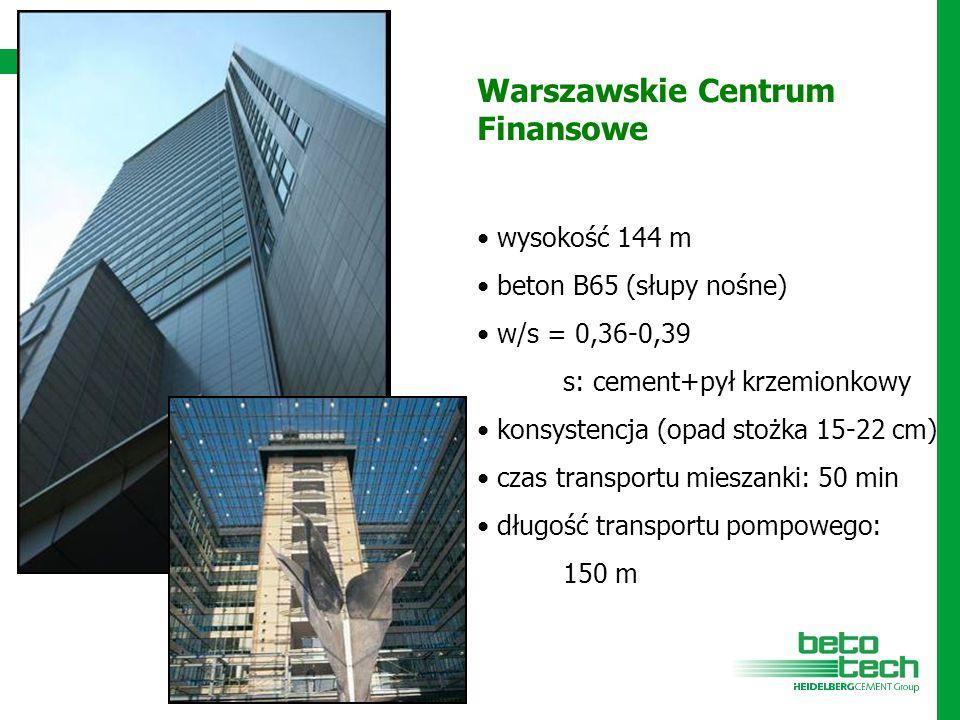 Warszawskie Centrum Finansowe wysokość 144 m beton B65 (słupy nośne) w/s = 0,36-0,39 s: cement+pył krzemionkowy konsystencja (opad stożka 15-22 cm) cz