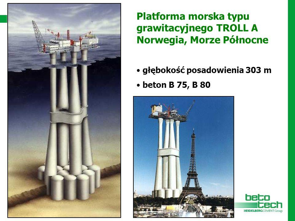 Platforma morska typu grawitacyjnego TROLL A Norwegia, Morze Północne głębokość posadowienia 303 m beton B 75, B 80