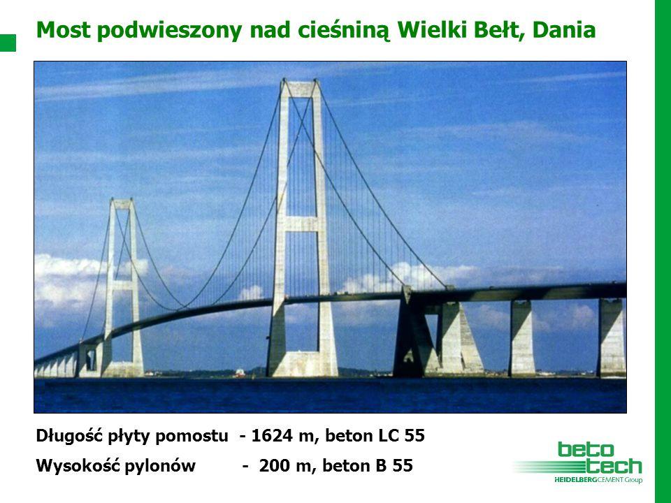 Długość płyty pomostu - 1624 m, beton LC 55 Wysokość pylonów - 200 m, beton B 55 Most podwieszony nad cieśniną Wielki Bełt, Dania