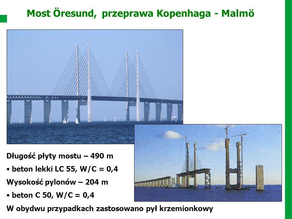 Most Öresund, przeprawa Kopenhaga - Malmö Długość płyty mostu – 490 m beton lekki LC 55, W/C = 0,4 Wysokość pylonów – 204 m beton C 50, W/C = 0,4 W ob