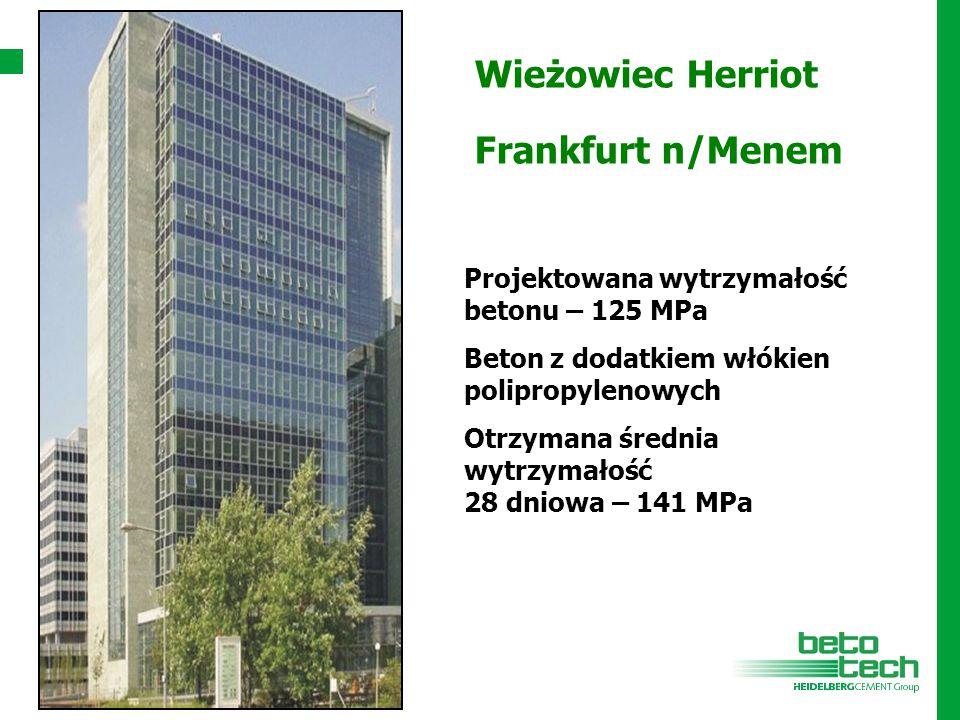 Wieżowiec Herriot Frankfurt n/Menem Projektowana wytrzymałość betonu – 125 MPa Beton z dodatkiem włókien polipropylenowych Otrzymana średnia wytrzymał