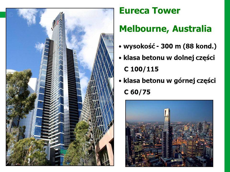 Eureca Tower Melbourne, Australia wysokość - 300 m (88 kond.) klasa betonu w dolnej części C 100/115 klasa betonu w górnej części C 60/75