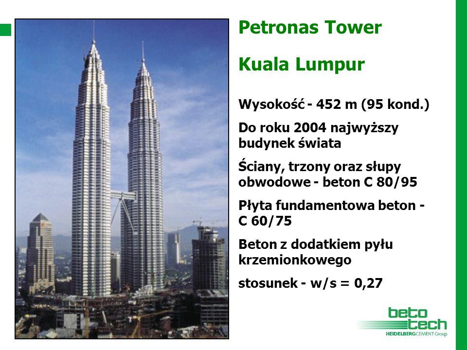 Petronas Tower Kuala Lumpur Wysokość - 452 m (95 kond.) Do roku 2004 najwyższy budynek świata Ściany, trzony oraz słupy obwodowe - beton C 80/95 Płyta