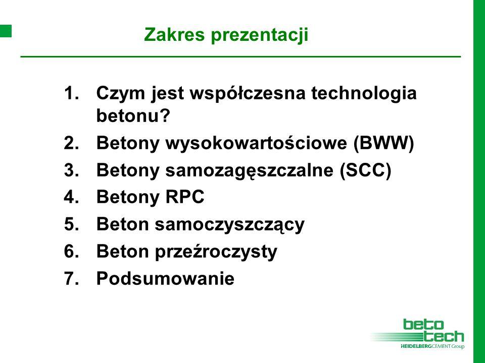 1.Czym jest współczesna technologia betonu? 2.Betony wysokowartościowe (BWW) 3.Betony samozagęszczalne (SCC) 4.Betony RPC 5.Beton samoczyszczący 6.Bet
