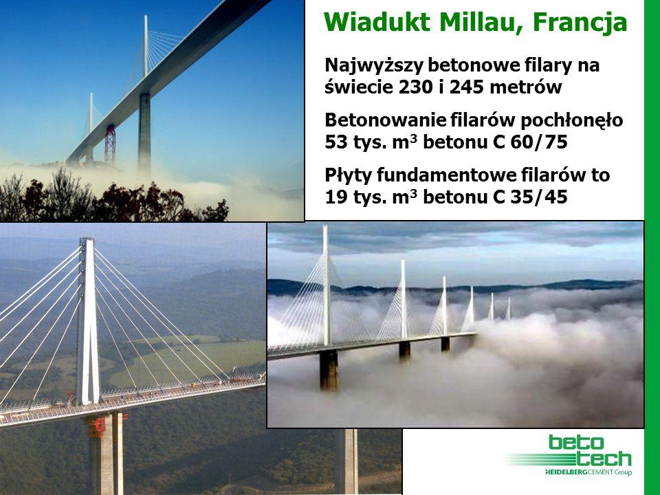 Wiadukt Millau, Francja Najwyższy betonowe filary na świecie 230 i 245 metrów Betonowanie filarów pochłonęło 53 tys. m 3 betonu C 60/75 Płyty fundamen