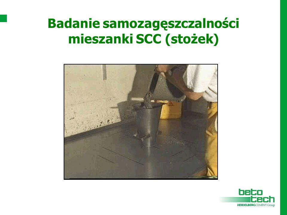 Badanie samozagęszczalności mieszanki SCC (stożek)