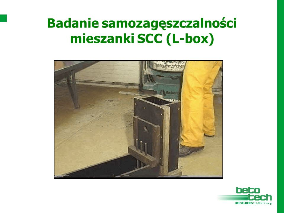 Badanie samozagęszczalności mieszanki SCC (L-box)