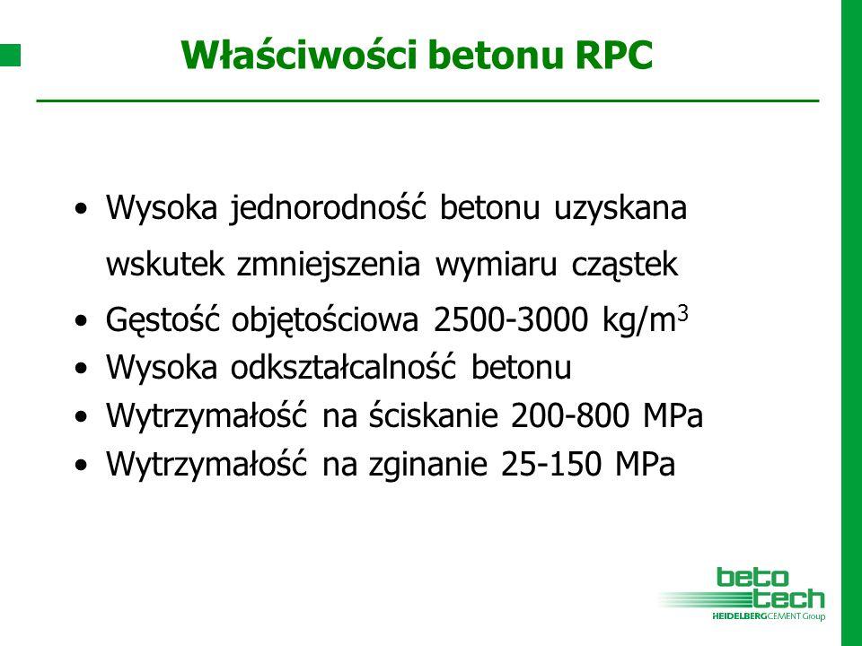 Właściwości betonu RPC Wysoka jednorodność betonu uzyskana wskutek zmniejszenia wymiaru cząstek Gęstość objętościowa 2500-3000 kg/m 3 Wysoka odkształc