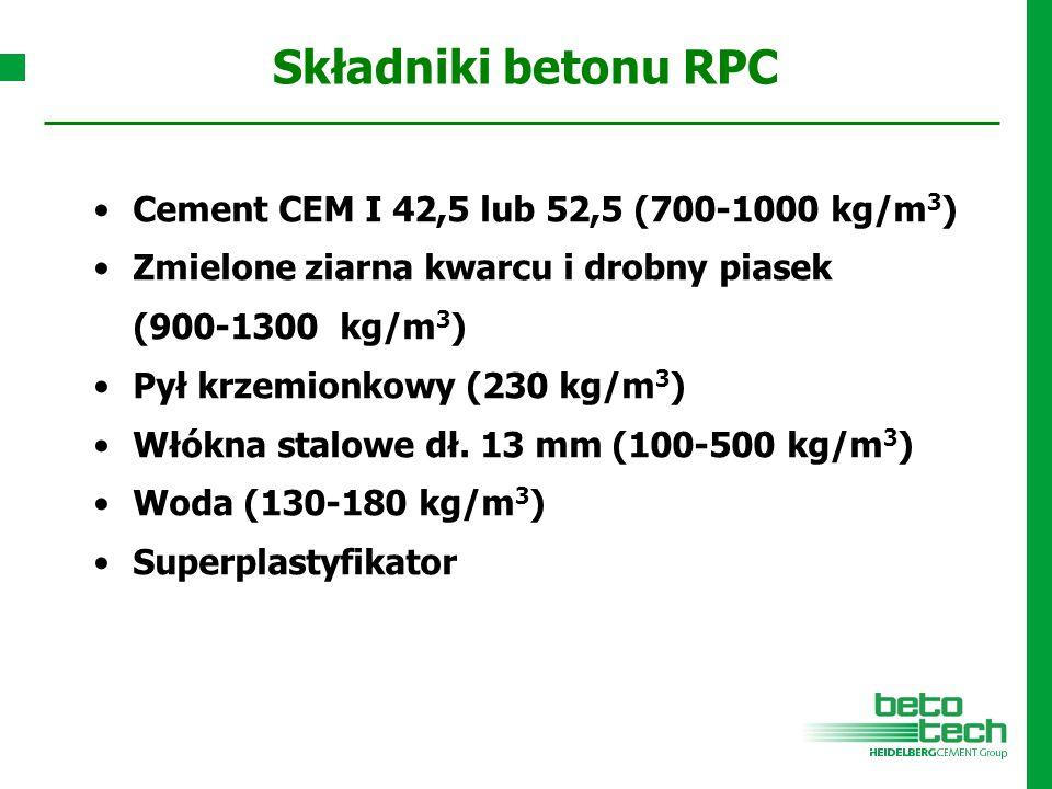 Składniki betonu RPC Cement CEM I 42,5 lub 52,5 (700-1000 kg/m 3 ) Zmielone ziarna kwarcu i drobny piasek (900-1300 kg/m 3 ) Pył krzemionkowy (230 kg/