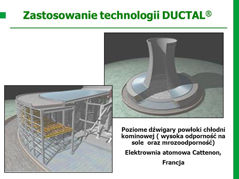 Poziome dźwigary powłoki chłodni kominowej ( wysoka odporność na sole oraz mrozoodporność) Elektrownia atomowa Cattenon, Francja Zastosowanie technolo