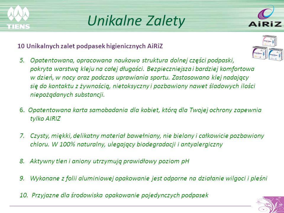 Unikalne Zalety 6. Opatentowana karta samobadania dla kobiet, którą dla Twojej ochrony zapewnia tylko AIRIZ 7.Czysty, miękki, delikatny materiał baweł