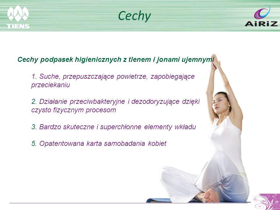 Cechy Cechy podpasek higienicznych z tlenem i jonami ujemnymi 1. Suche, przepuszczające powietrze, zapobiegające przeciekaniu 2. Działanie przeciwbakt