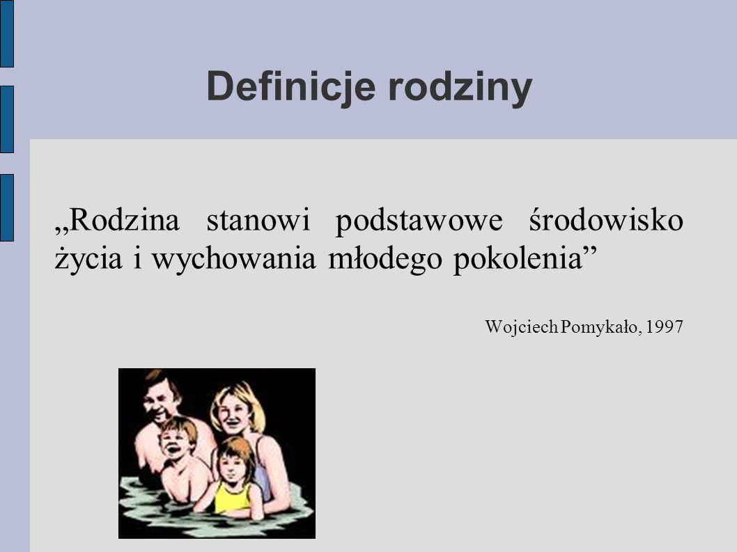 """Definicje rodziny """"Rodzina stanowi podstawowe środowisko życia i wychowania młodego pokolenia"""" Wojciech Pomykało, 1997"""