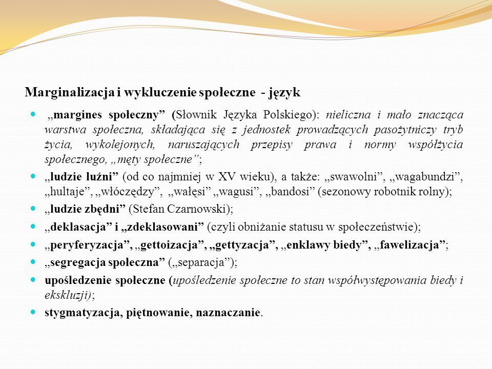 """Marginalizacja i wykluczenie społeczne - język """"margines społeczny"""" (Słownik Języka Polskiego): nieliczna i mało znacząca warstwa społeczna, składając"""