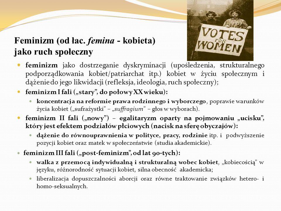 Feminizm (od łac. femina - kobieta) jako ruch społeczny feminizm jako dostrzeganie dyskryminacji (upośledzenia, strukturalnego podporządkowania kobiet