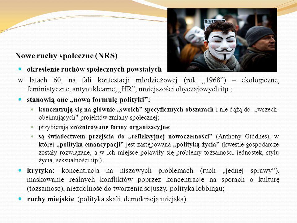 """Nowe ruchy społeczne (NRS) określenie ruchów społecznych powstałych w latach 60. na fali kontestacji młodzieżowej (rok """"1968"""") – ekologiczne, feminist"""
