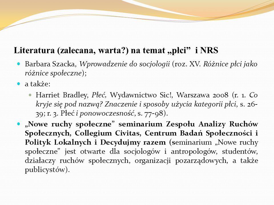 """Literatura (zalecana, warta?) na temat """"płci"""" i NRS Barbara Szacka, Wprowadzenie do socjologii (roz. XV. Różnice płci jako różnice społeczne); a także"""