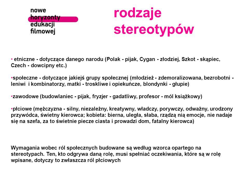 rodzaje stereotypów etniczne - dotyczące danego narodu (Polak - pijak, Cygan - złodziej, Szkot - skąpiec, Czech - dowcipny etc.) społeczne - dotyczące jakiejś grupy społecznej (młodzież - zdemoralizowana, bezrobotni - leniwi i kombinatorzy, matki - troskliwe i opiekuńcze, blondynki - głupie) zawodowe (budowlaniec - pijak, fryzjer - gadatliwy, profesor - mól książkowy) płciowe (mężczyzna - silny, niezależny, kreatywny, władczy, porywczy, odważny, urodzony przywódca, świetny kierowca; kobieta: bierna, uległa, słaba, rządzą nią emocje, nie nadaje się na szefa, za to świetnie piecze ciasta i prowadzi dom, fatalny kierowca) Wymagania wobec ról społecznych budowane są według wzorca opartego na stereotypach.