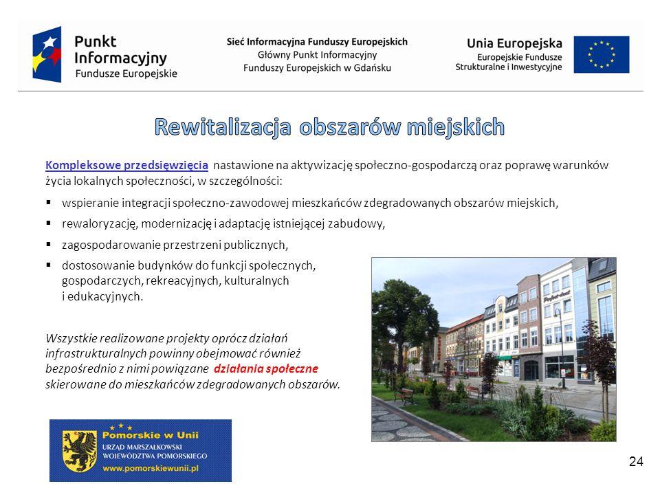 24 Kompleksowe przedsięwzięcia nastawione na aktywizację społeczno-gospodarczą oraz poprawę warunków życia lokalnych społeczności, w szczególności:  wspieranie integracji społeczno-zawodowej mieszkańców zdegradowanych obszarów miejskich,  rewaloryzację, modernizację i adaptację istniejącej zabudowy,  zagospodarowanie przestrzeni publicznych,  dostosowanie budynków do funkcji społecznych, gospodarczych, rekreacyjnych, kulturalnych i edukacyjnych.