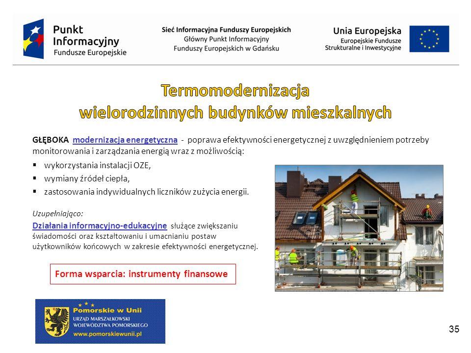 35 GŁĘBOKA modernizacja energetyczna - poprawa efektywności energetycznej z uwzględnieniem potrzeby monitorowania i zarządzania energią wraz z możliwością:  wykorzystania instalacji OZE,  wymiany źródeł ciepła,  zastosowania indywidualnych liczników zużycia energii.