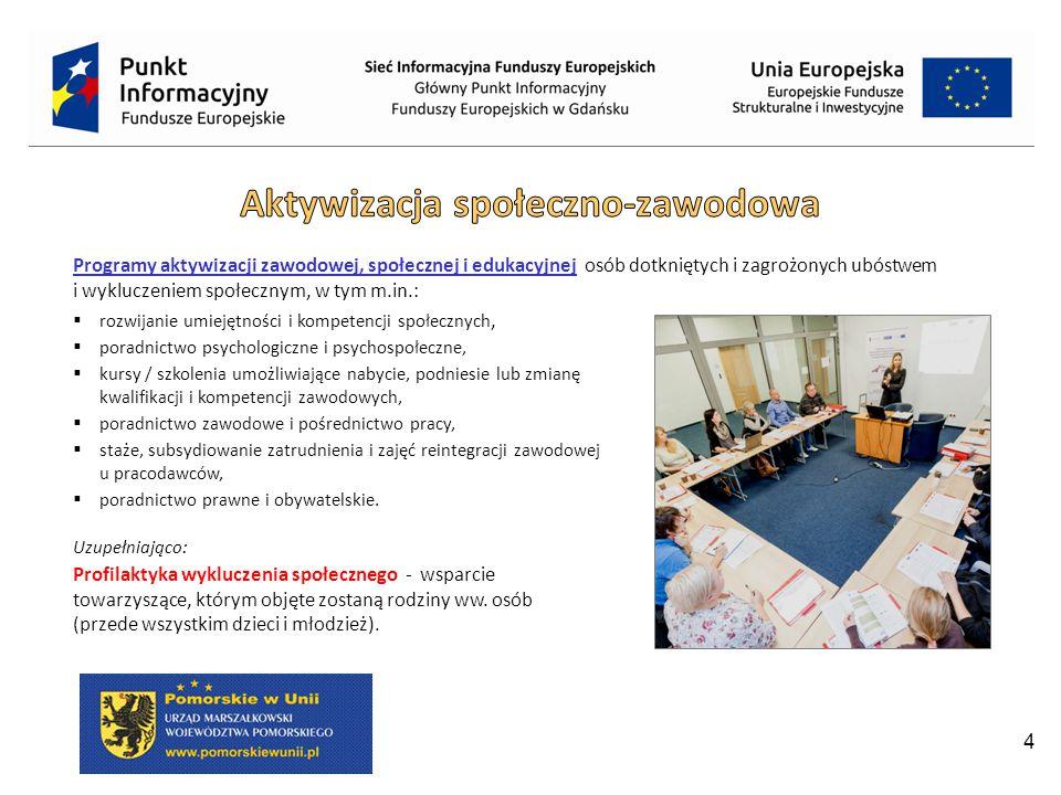 5 Beneficjenci: JST i ich jednostki organizacyjne, związki i stowarzyszenia JST, instytucje pomocy i integracji społecznej, podmioty prowadzące: centra integracji społecznej / kluby integracji społecznej / warsztaty terapii zajęciowej / zakłady aktywności zawodowej, instytucje resocjalizacyjne, instytucje opiekuńczo-wychowawcze, instytucje rynku pracy, związki zawodowe, NGO, podmioty ekonomii społecznej / przedsiębiorstwa społeczne, instytucje edukacyjne, szkoły wyższe, instytucje kultury, kluby sportowe, ROT / LOT.