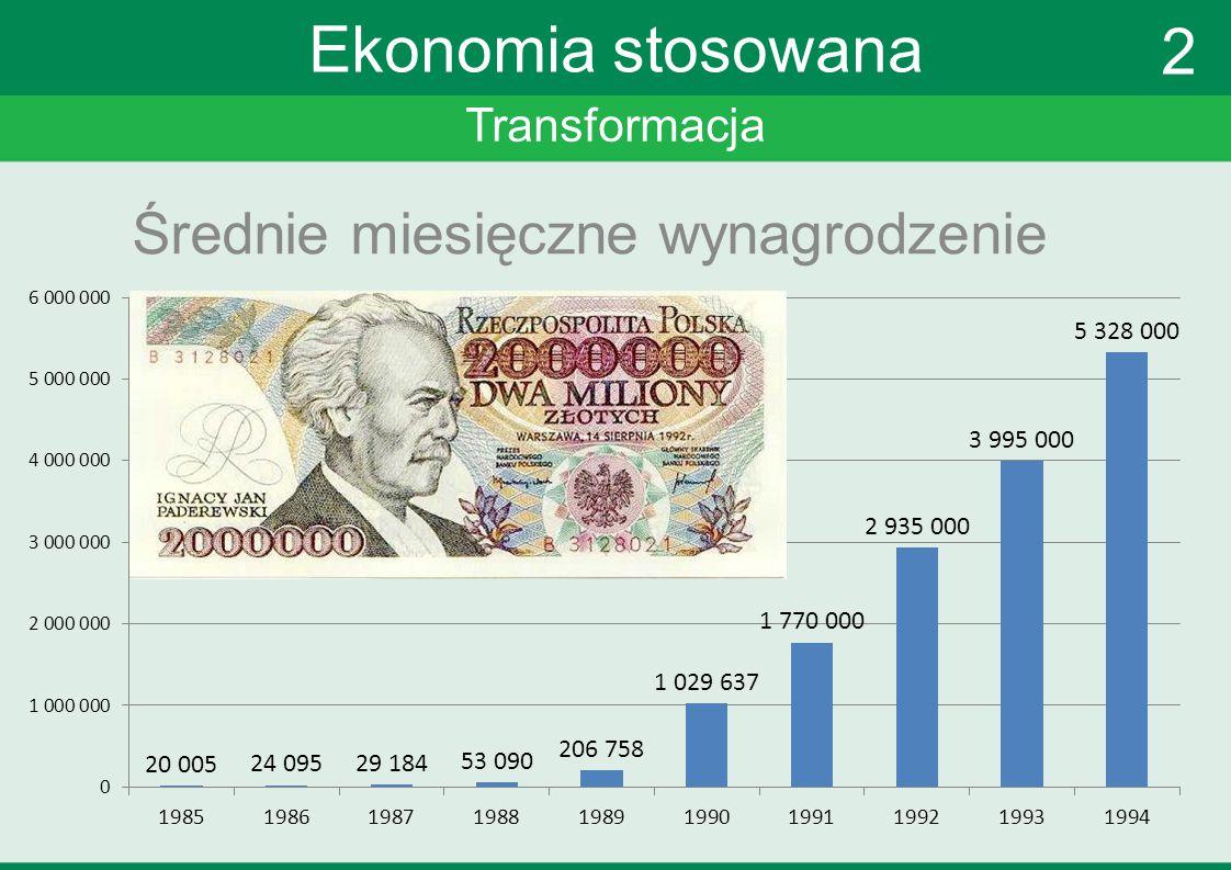 Transformacja Ekonomia stosowana Średnie miesięczne wynagrodzenie 2