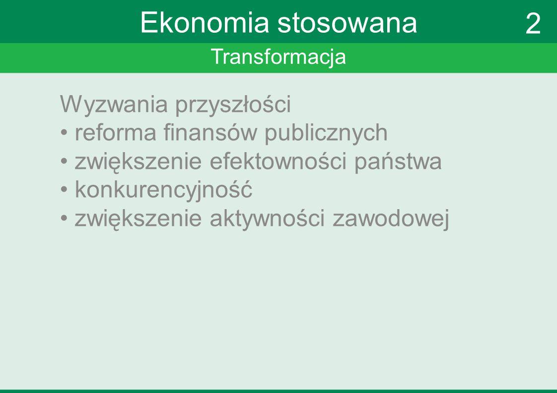 Transformacja Ekonomia stosowana Wyzwania przyszłości reforma finansów publicznych zwiększenie efektowności państwa konkurencyjność zwiększenie aktywn