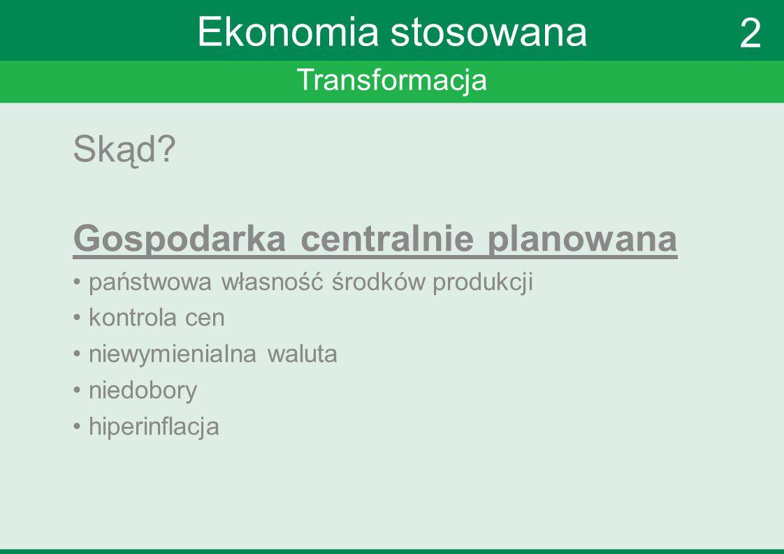 Transformacja Ekonomia stosowana Wyzwania przyszłości reforma finansów publicznych zwiększenie efektowności państwa konkurencyjność zwiększenie aktywności zawodowej 2