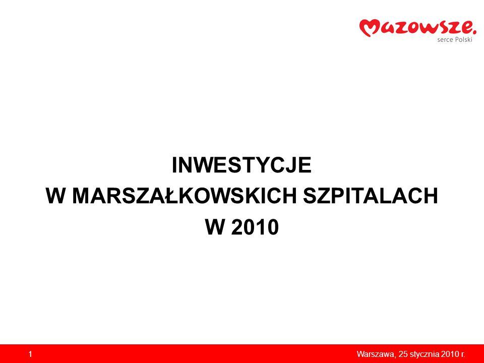 INWESTYCJE W MARSZAŁKOWSKICH SZPITALACH W 2010 1Warszawa, 25 stycznia 2010 r.