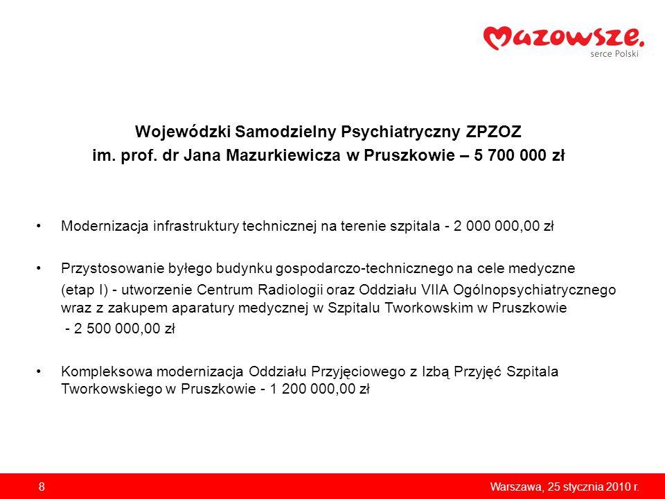 8Warszawa, 25 stycznia 2010 r. Wojewódzki Samodzielny Psychiatryczny ZPZOZ im.