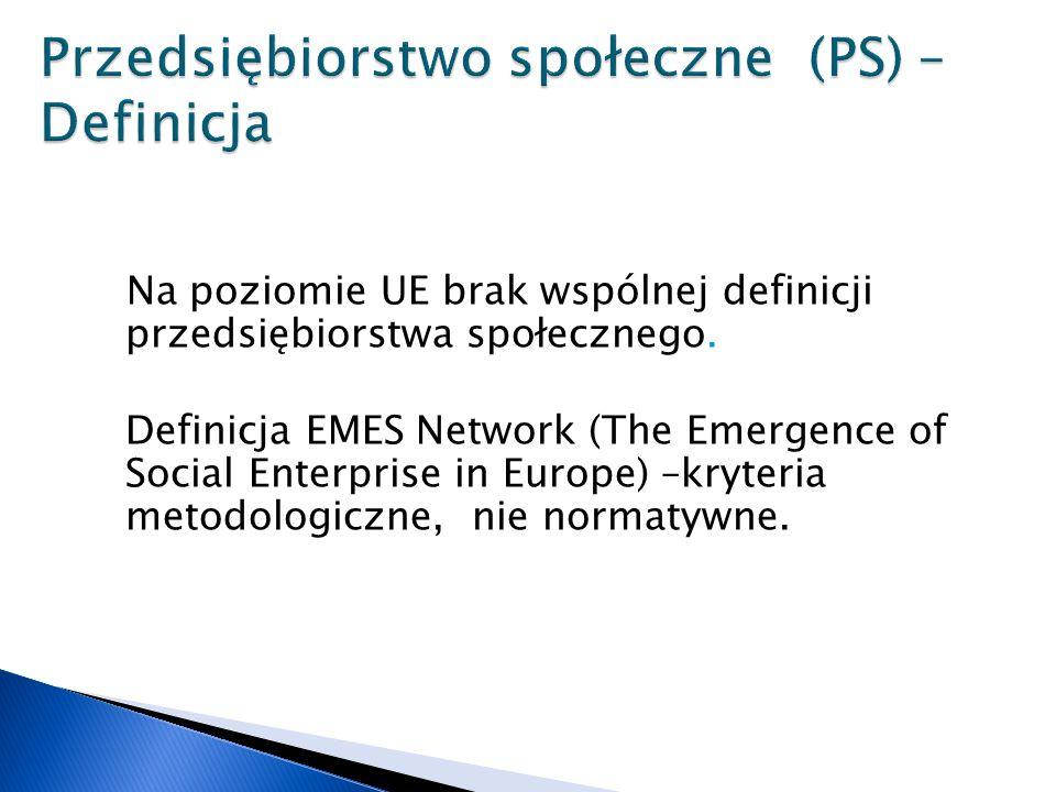 Na poziomie UE brak wspólnej definicji przedsiębiorstwa społecznego.