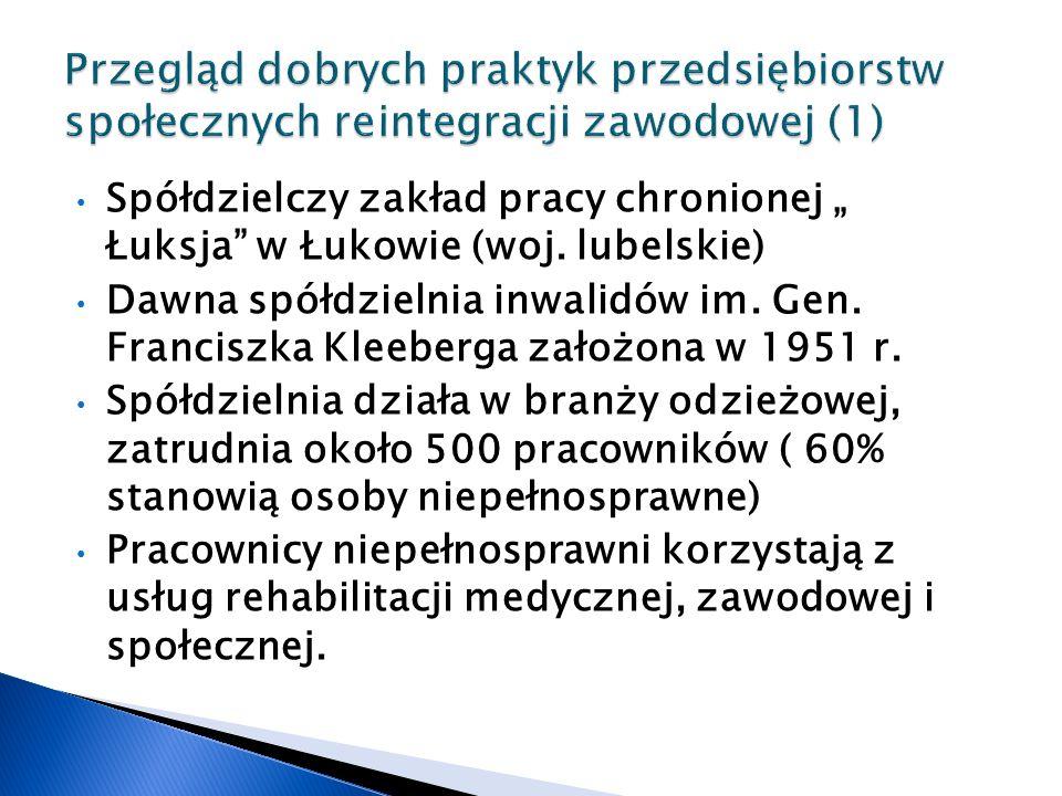 """Spółdzielczy zakład pracy chronionej """" Łuksja w Łukowie (woj."""