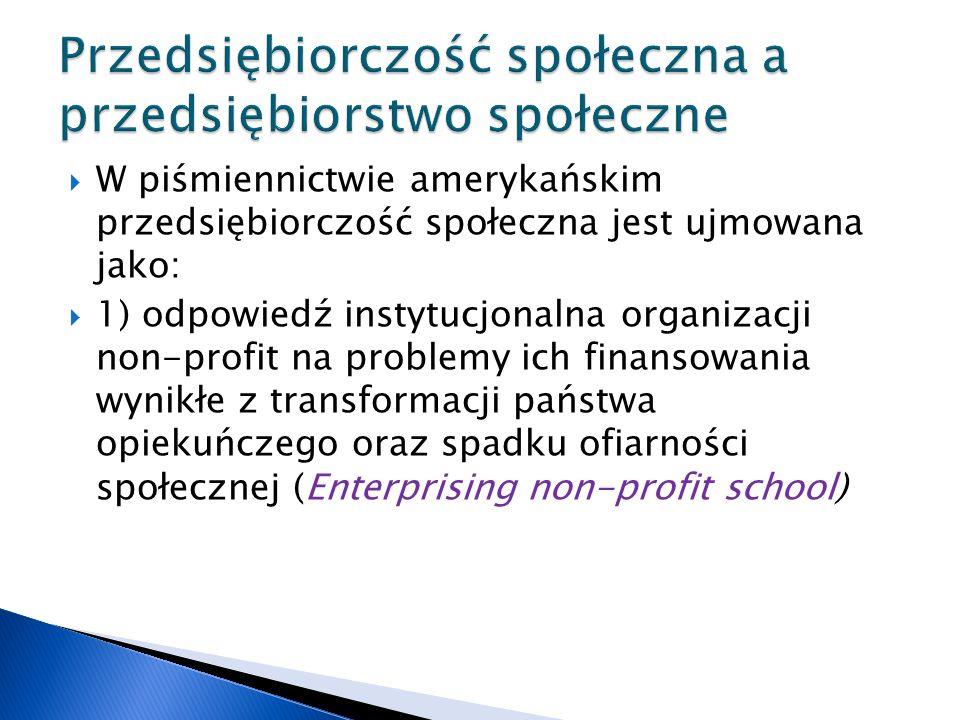 W piśmiennictwie amerykańskim przedsiębiorczość społeczna jest ujmowana jako:  1) odpowiedź instytucjonalna organizacji non-profit na problemy ich finansowania wynikłe z transformacji państwa opiekuńczego oraz spadku ofiarności społecznej (Enterprising non-profit school)
