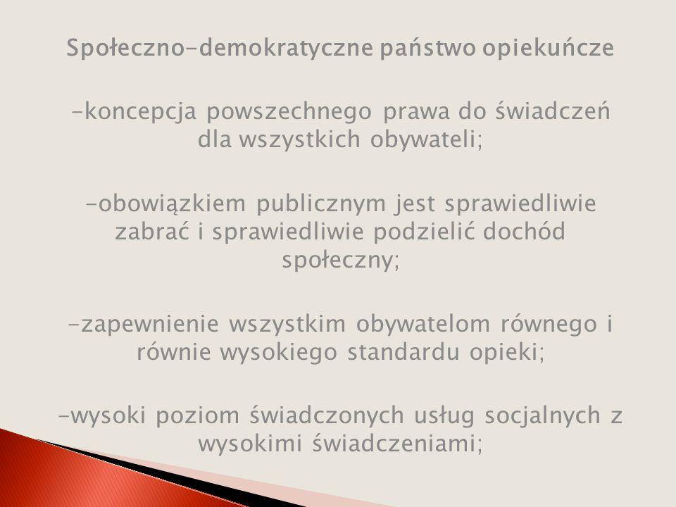 Społeczno-demokratyczne państwo opiekuńcze -koncepcja powszechnego prawa do świadczeń dla wszystkich obywateli; -obowiązkiem publicznym jest sprawiedl