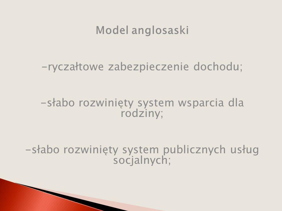 Model anglosaski -ryczałtowe zabezpieczenie dochodu; -słabo rozwinięty system wsparcia dla rodziny; -słabo rozwinięty system publicznych usług socjalnych;