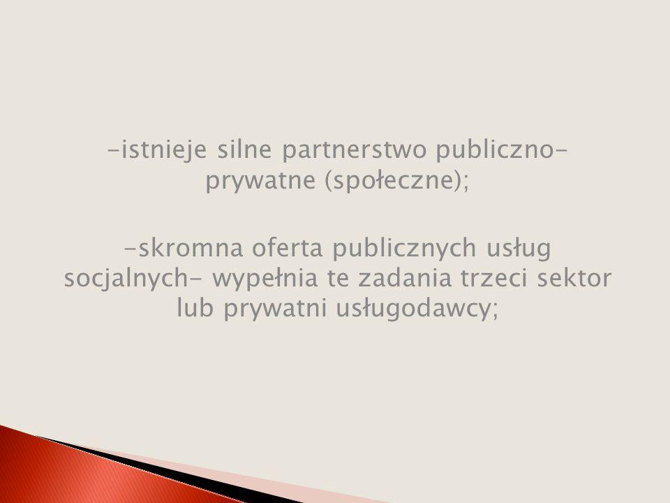 -istnieje silne partnerstwo publiczno- prywatne (społeczne); -skromna oferta publicznych usług socjalnych- wypełnia te zadania trzeci sektor lub prywa