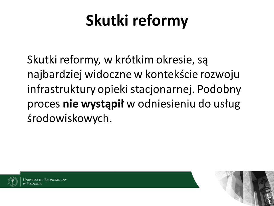 Skutki reformy Skutki reformy, w krótkim okresie, są najbardziej widoczne w kontekście rozwoju infrastruktury opieki stacjonarnej. Podobny proces nie