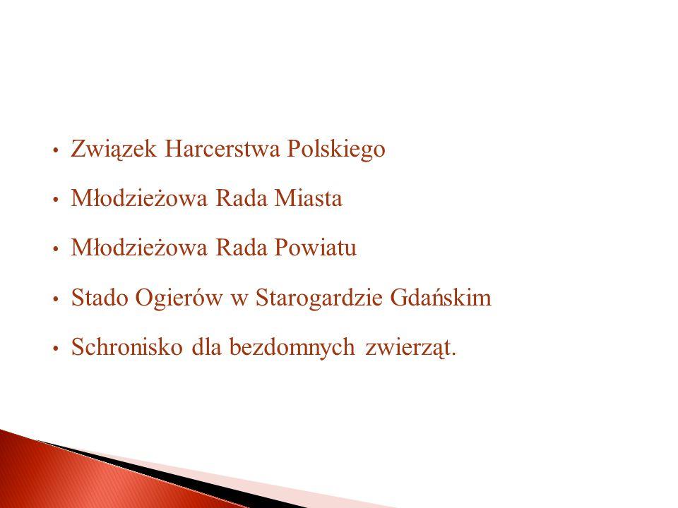 Związek Harcerstwa Polskiego Młodzieżowa Rada Miasta Młodzieżowa Rada Powiatu Stado Ogierów w Starogardzie Gdańskim Schronisko dla bezdomnych zwierząt.